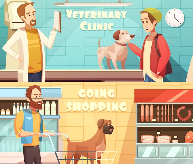 Dog horizontal banners set with veterinary and shopping symbols cartoon isolated vector illustration Free Vector
