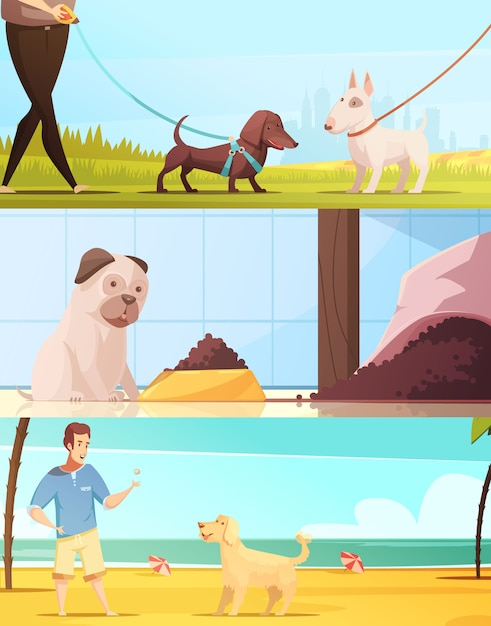 Dog horizontal banners set with walking symbols cartoon isolated vector illustration Free Vector