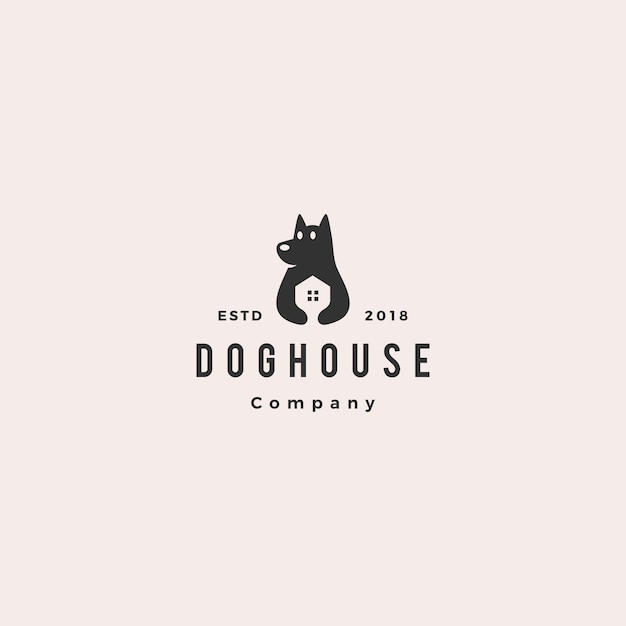 Dog house pet home logo Premium Vector