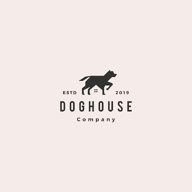 Dog house pet home logo Premium векторы