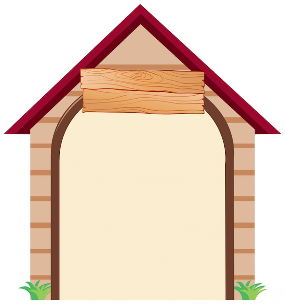 A dog house with copyspace Free Vector