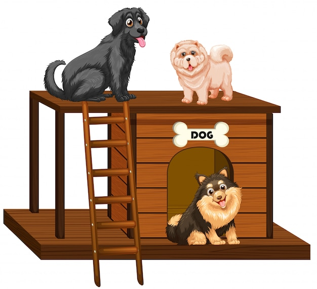 Cuccia con simpatici cani isolati Vettore gratuito