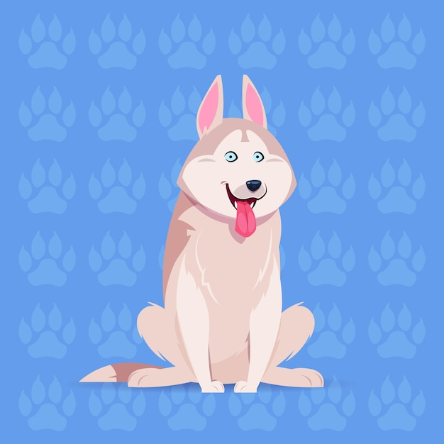 Dog husky happy cartoon sitting over footprints background cute pet Premium Vector