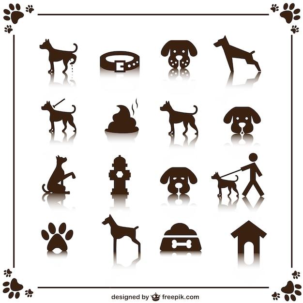 Dog icons set Free Vector