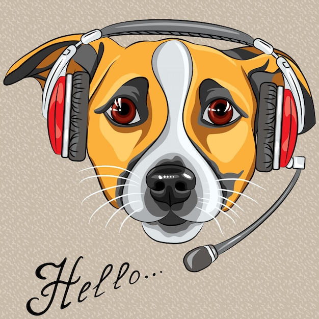 Dog jack russell terrier, call center operator with phone Premium Vector
