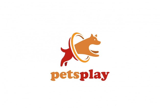Dog jumping logo design   template. home pets store veterinary clinic logotype concept icon. Free Vector