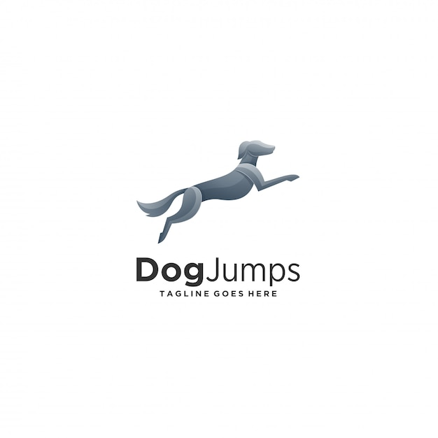 Dog jumps perfect style illustration  logo. Premium Vector