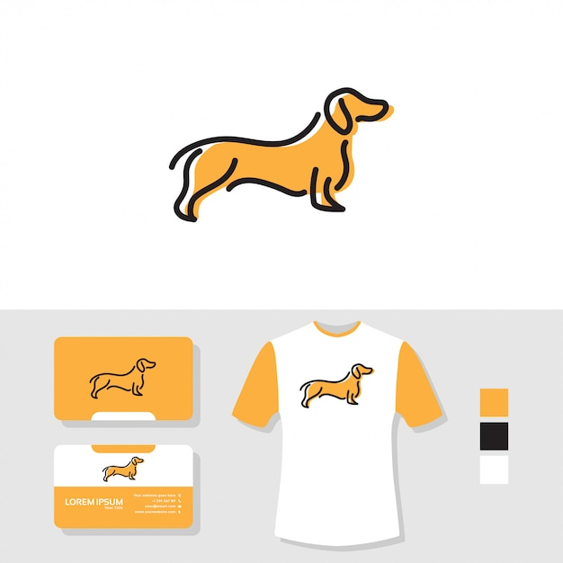 Dog logo design with business card and t shirt mockup Premium Vector