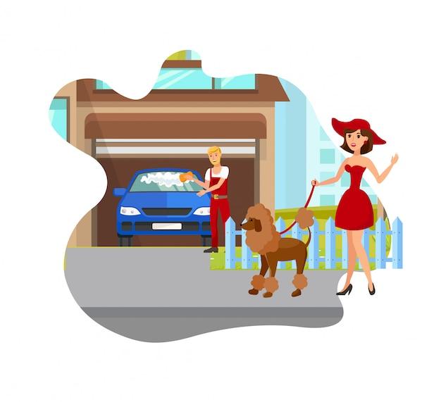 Dog lover meeting neighbor vector illustration Premium Vector