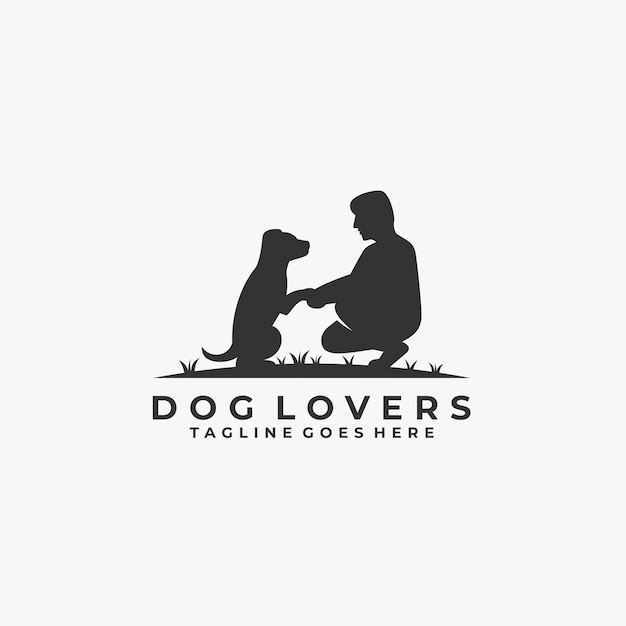 Dog lovers with man silhouette   logo. Premium Vector