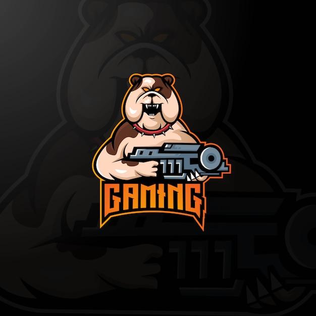 Вектор дизайна логотипа талисмана собаки с современным стилем концепции иллюстрации для значка Premium векторы