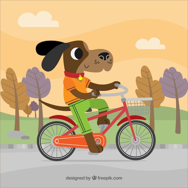 Dog on a bicycle background Vector | Free Download