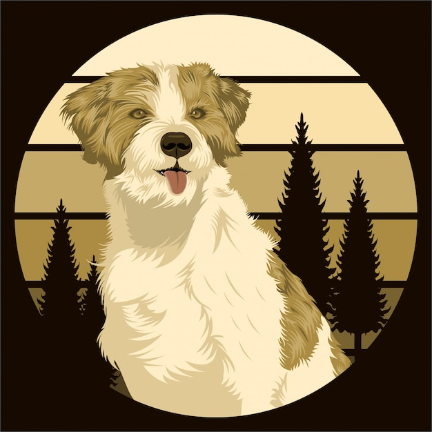 Dog outdoor sunset retro Premium Vector