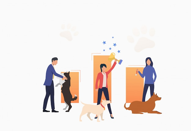 Dog owners celebrating victory and holding trophy Free Vector
