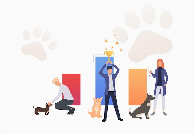 Dog owners holding trophy and celebrating victory Free Vector