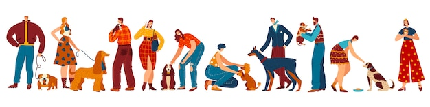 Dog owners, people and their pets cartoon characters, different breeds of domestic animals,  illustration Premium Vector