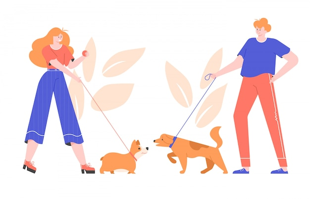 premium vector dog owners for a walk cute welsh corgi and big dog meet and play together acquaintance of pets https www freepik com profile preagreement getstarted 7319242