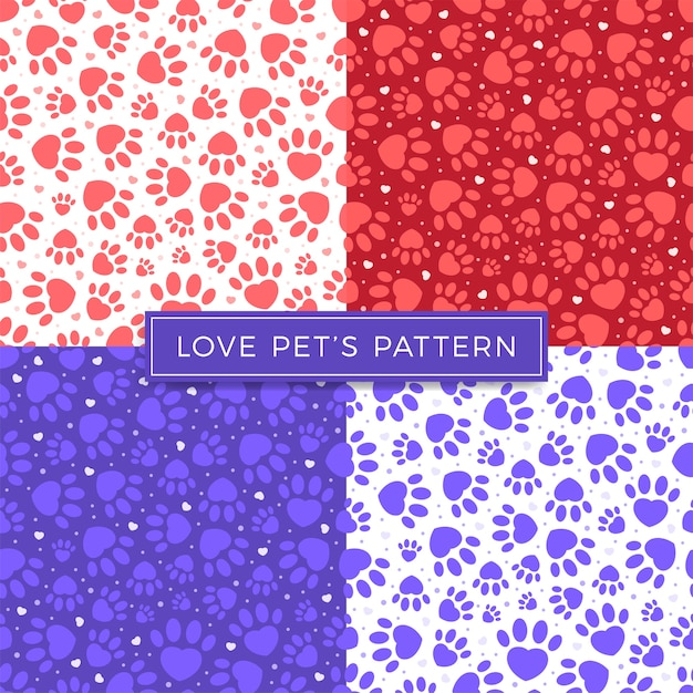 Dog paw cat paw heart love puppy vector seamless pattern. Premium Vector
