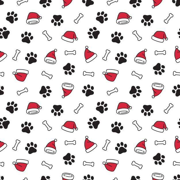 Dog paw christmas santa claus hat seamless pattern Premium Vector