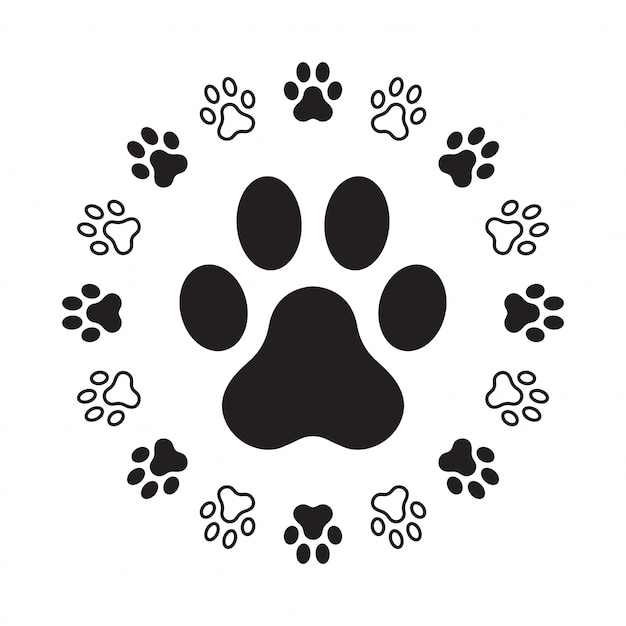 Dog paw footprint Premium Vector