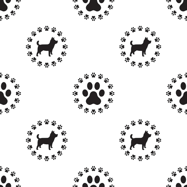 Dog paw seamless pattern vector isolated puppy wallpaper Premium Vector