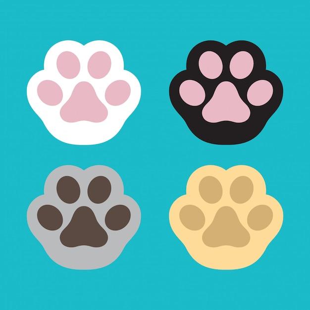 Dog paw vector footprint cartoon Premium Vector