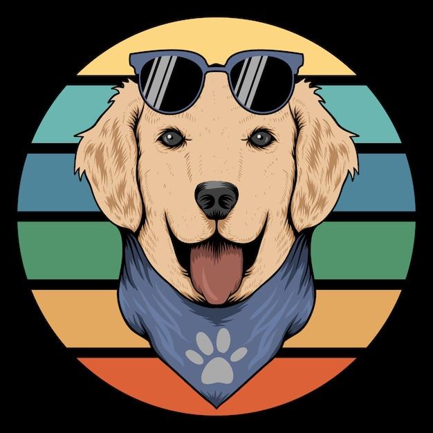 Dog retro bandana Premium Vector