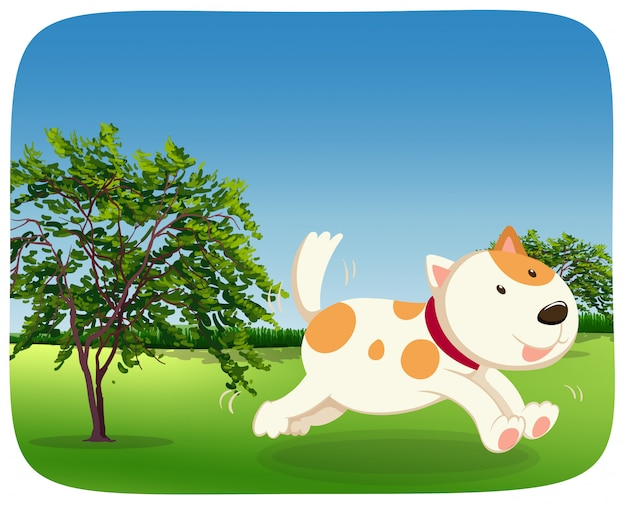A dog runing in the park Free Vector