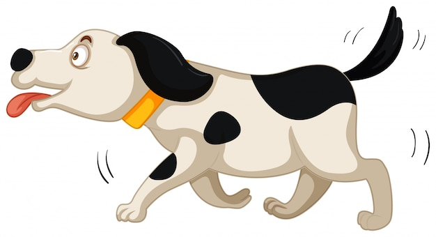 Dog running on white background Free Vector