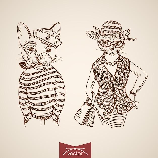 一重項財布タバコパイプメガネを身に着けている犬の船乗りの女性猫の肖像画の服のアクセサリー。 無料ベクター