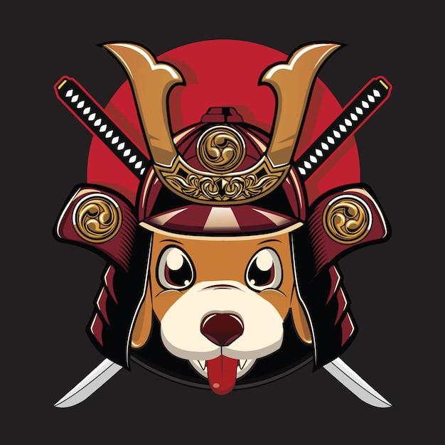 Dog samurai Premium Vector