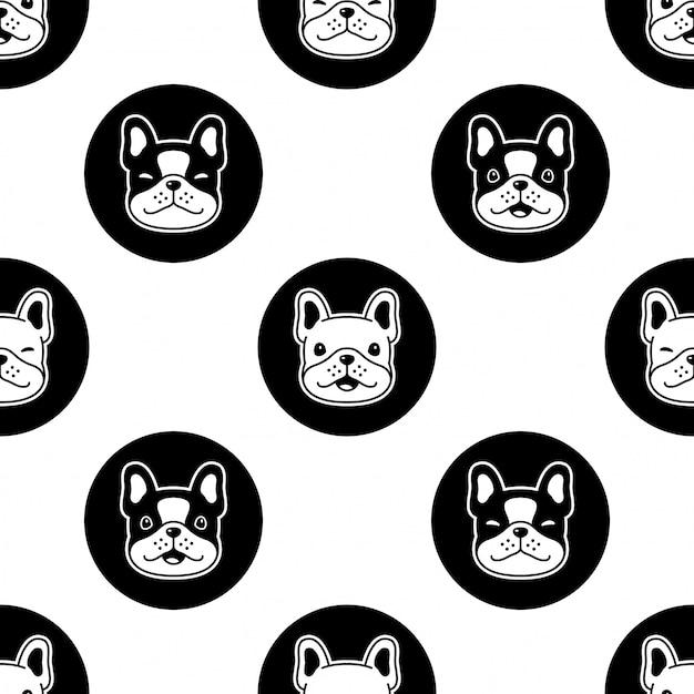 Собака бесшовные модели французский бульдог мультфильм горошек Premium векторы