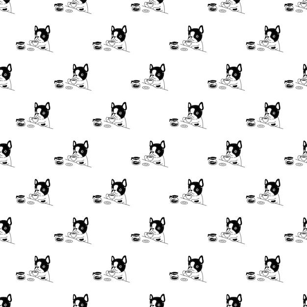 犬のシームレスなパターンフレンチブルドッグコーヒーカップポットティー漫画 Premiumベクター