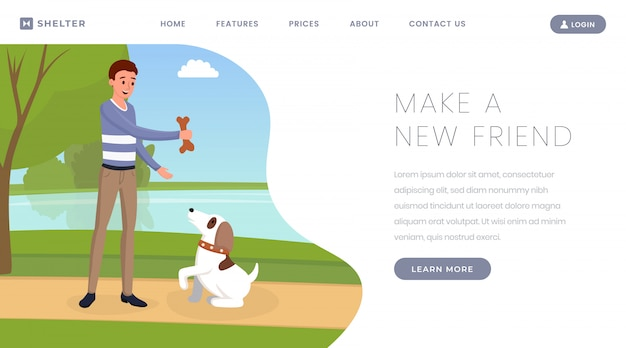 Dog shelter landing page template Premium Vector