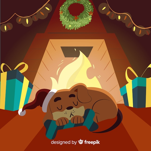 Dog sleeping by the fireplace christmas illustration Free Vector