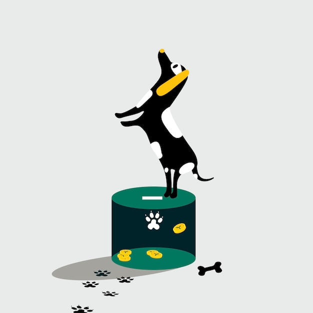 Dog standing on the donation box Free Vector