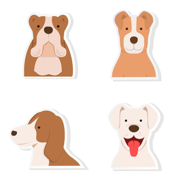Dog sticker set vector Premium Vector