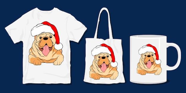 개 티셔츠. 귀여운 재미 있은 크리스마스 만화 T 셔츠와 상품 디자인 프리미엄 벡터