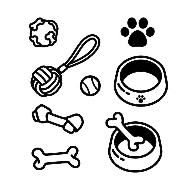 Dog toy food bone icon Premium Vector