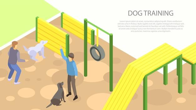 Dog training concept banner, isometric style Premium Vector