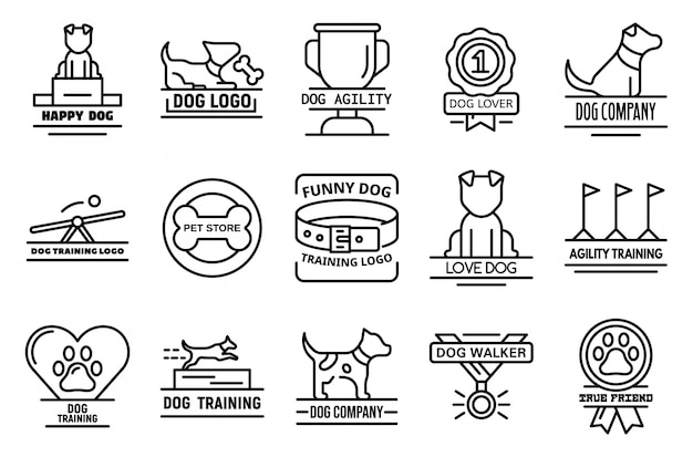 Dog training icons set, outline style Premium Vector