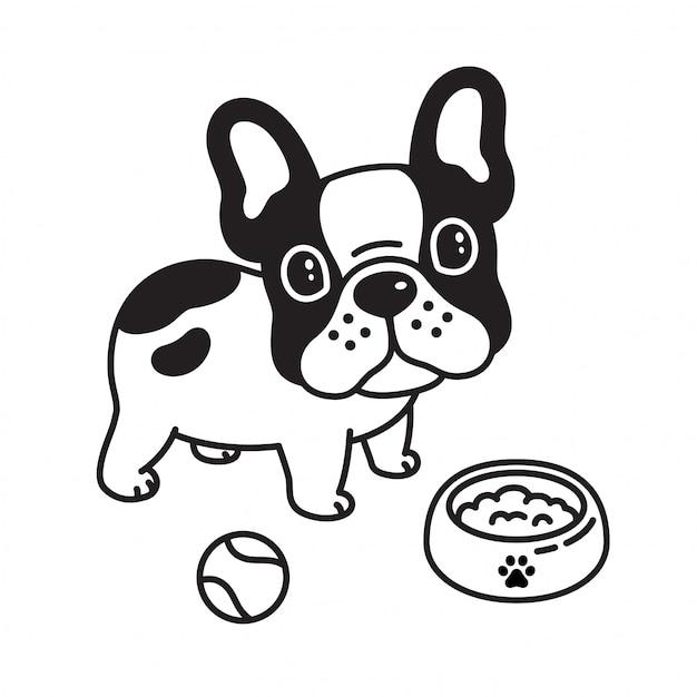 Dog vector french bulldog ball toy food bowl Premium Vector