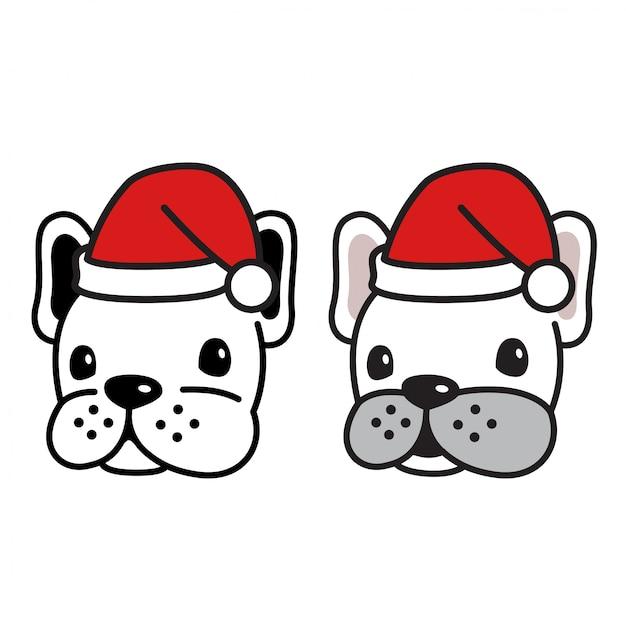Dog vector french bulldog head christmas santa claus hat Premium Vector