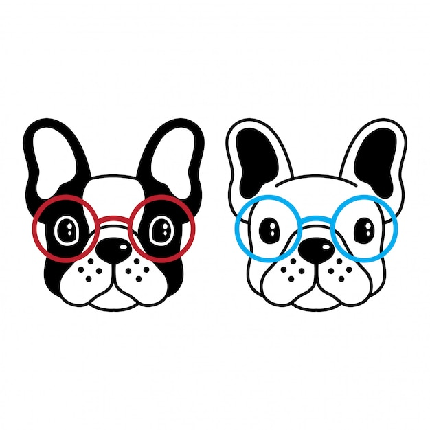 Dog vector french bulldog sunglasses cartoon Premium Vector