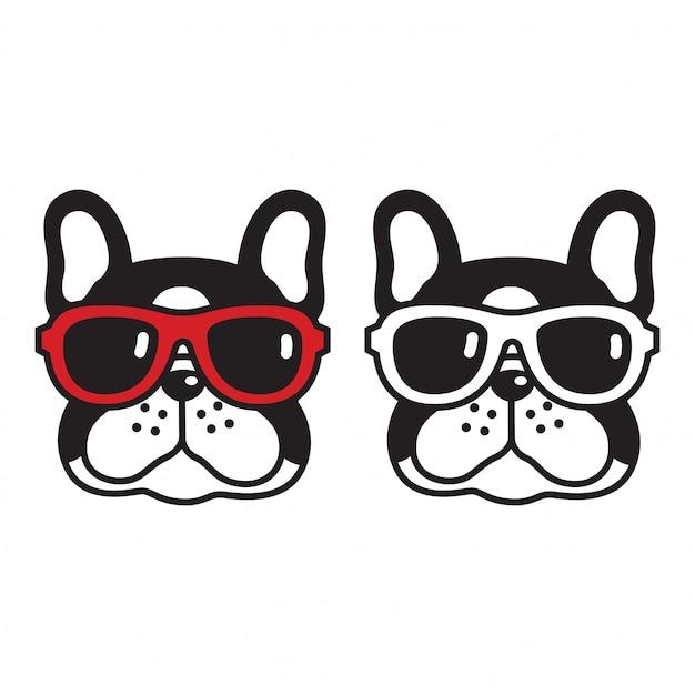 Собака вектор французский бульдог солнцезащитные очки щенок мультфильм Premium векторы