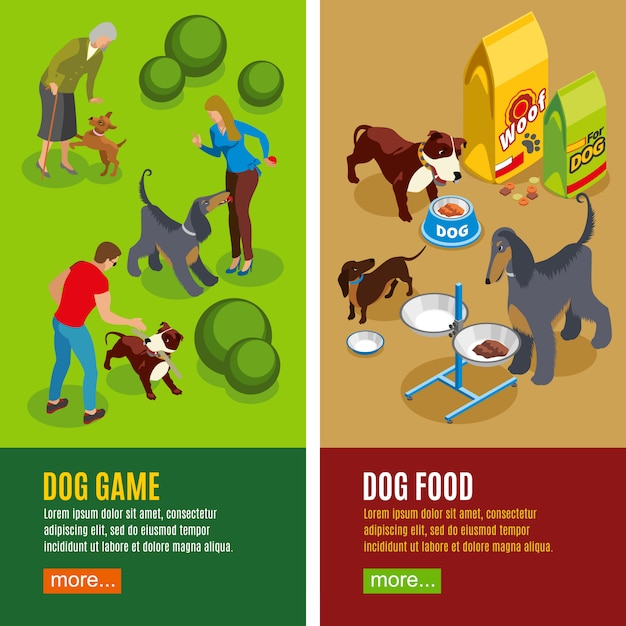 Dog vertical isometric banners Free Vector