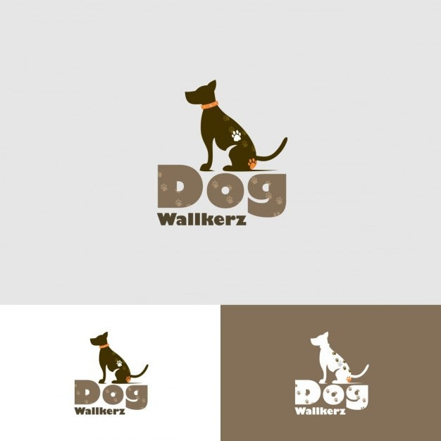 Dog walkers Logo with animal print