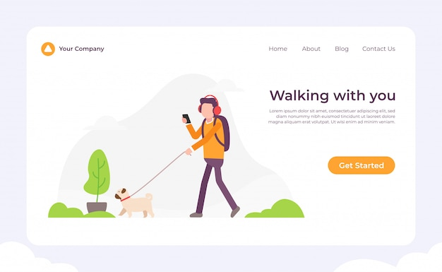 Dog walking with you landing page Premium Vector