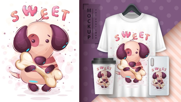 Dog with bone merchandising Free Vector