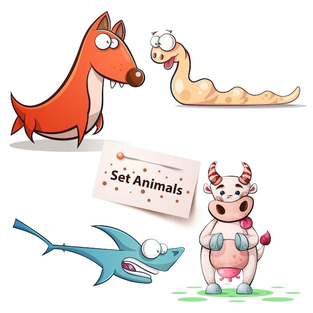 Dog, worm, shark cow - set animals Premium Vector